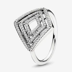 🍓Pandora Geometric Lines Ring, Clear CZ